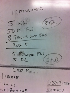 Notes: Good AM session. Wall Walks feeling strong, Went UB on Carries, only had 90# DB ..Throws were fun . Muscle ups slow but clinical, DL easy with row..good session.